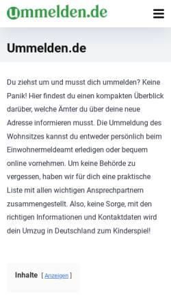 Vorschau der mobilen Webseite www.ummelden.de, Ummelden.de