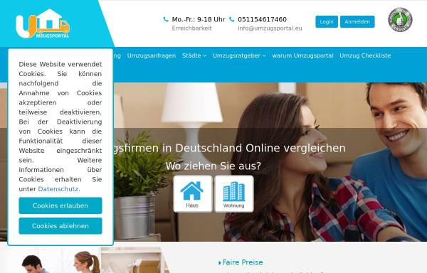 Vorschau von www.umzug.info, Umzug Tipps für Deutschland