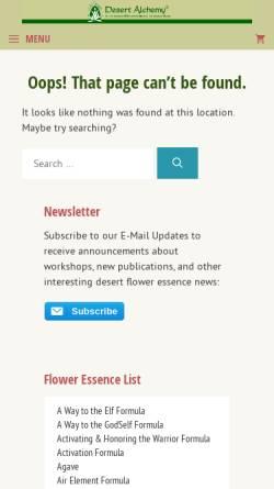 Vorschau der mobilen Webseite www.desert-alchemy.com, Desert Alchemy Blüten-Essenzen
