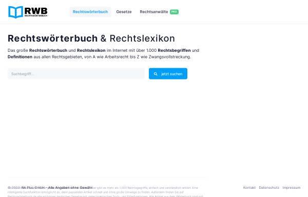 Vorschau von www.rechtswoerterbuch.de, Rechtswörterbuch.de