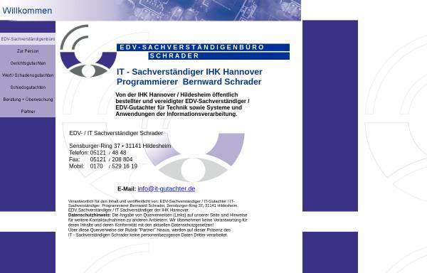 Vorschau von www.it-gutachter.de, EDV-Sachverständiger Dipl.-Prog. Bernward Schrader