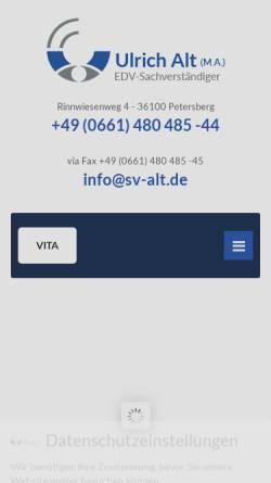 Vorschau der mobilen Webseite www.sv-alt.de, Ulrich Alt