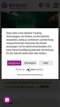 Vorschau der mobilen Webseite www.evonik.de, Tego Chemie Service