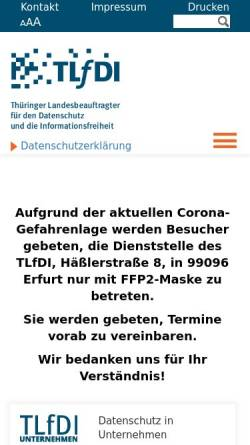 Vorschau der mobilen Webseite www.datenschutz.thueringen.de, Thüringen - Datenschutzbeauftragter