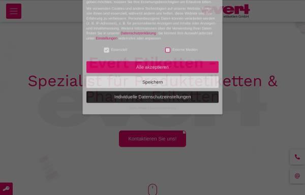 Vorschau von www.evert-etiketten.de, Werner Evert + Co. GmbH