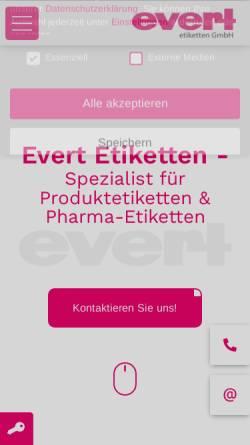 Vorschau der mobilen Webseite www.evert-etiketten.de, Werner Evert + Co. GmbH