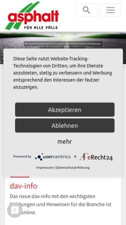 Vorschau der mobilen Webseite www.asphalt.de, Deutsches Asphaltinstitut e.V.
