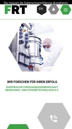 Vorschau der mobilen Webseite frt.de, Europäische Forschungsgemeinschaft Reinigungs- und Hygienetechnologie