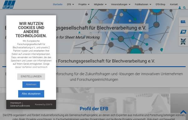 Vorschau von www.efb.de, Europäische Forschungsgesellschaft für Blechverarbeitung e.V.