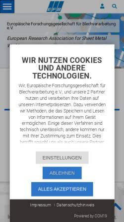 Vorschau der mobilen Webseite www.efb.de, Europäische Forschungsgesellschaft für Blechverarbeitung e.V.