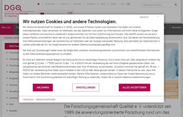 Vorschau von www.dgq.de, Forschungsgemeinschaft Qualität e.V. (FQS)