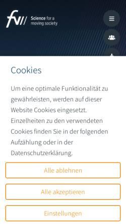 Vorschau der mobilen Webseite www.fvv-net.de, Forschungsvereinigung Verbrennungskraftmaschinen e.V.(FVV)
