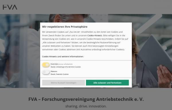 Vorschau von www.fva-net.de, FVA - Forschungsvereinigung Antriebstechnik e.V.