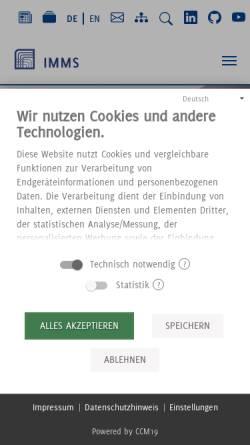 Vorschau der mobilen Webseite www.imms.de, IMMS Institut für Mikroelektronik- und Mechatronik-Systeme gGmbH