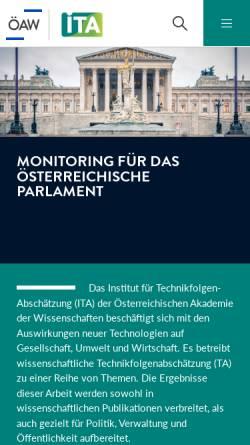 Vorschau der mobilen Webseite www.oeaw.ac.at, Institut für Technikfolgen-Abschätzung (ITA)