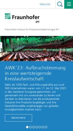 Vorschau der mobilen Webseite www.ipt.fraunhofer.de, IPT Fraunhofer-Institut für Produktionstechnologie