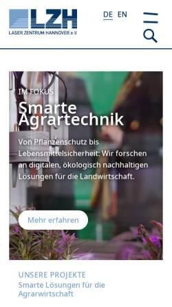 Vorschau der mobilen Webseite www.lzh.de, Laser Zentrum Hannover e.V. (LZH)