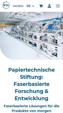 Vorschau der mobilen Webseite www.ptspaper.de, Papiertechnische Stiftung (PTS)