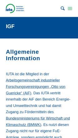Vorschau der mobilen Webseite www.veu.de, Verein zur Förderung der Energie- und Umwelttechnik e.V. (VEU)