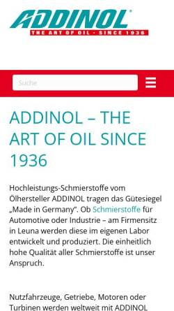 Vorschau der mobilen Webseite www.addinol.de, Addinol Lube Oil GmbH