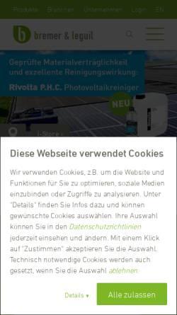Vorschau der mobilen Webseite www.bremer-leguil.de, Bremer & Leguil GmbH