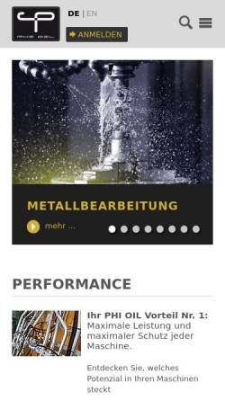 Vorschau der mobilen Webseite www.phi-oil.com, Phi Premium Oil Handelsges.m.b.H.