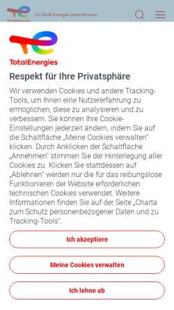 Vorschau der mobilen Webseite www.total.de, Total Deutschland GmbH