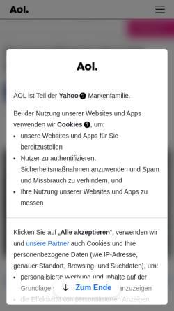 Vorschau der mobilen Webseite www.aol.de, AOL