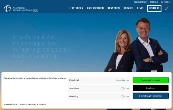 Vorschau von www.adu-inkasso.de, Allgemeiner Debitoren- und Inkassodienst GmbH