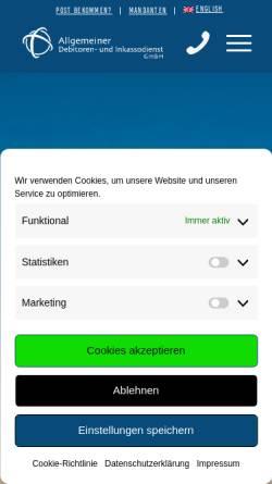 Vorschau der mobilen Webseite www.adu-inkasso.de, Allgemeiner Debitoren- und Inkassodienst GmbH