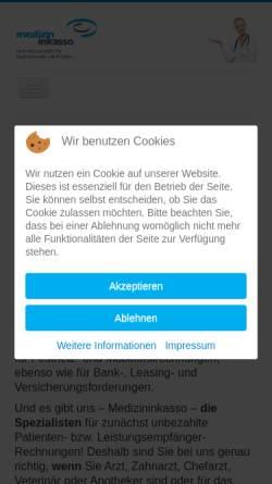 Vorschau der mobilen Webseite www.medizininkasso.de, Medizininkasso - Schlotmann & Sterz GmbH