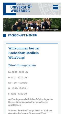 Vorschau der mobilen Webseite www.fachschaft.medizin.uni-wuerzburg.de, Fachschaft Medizin Universität Würzburg