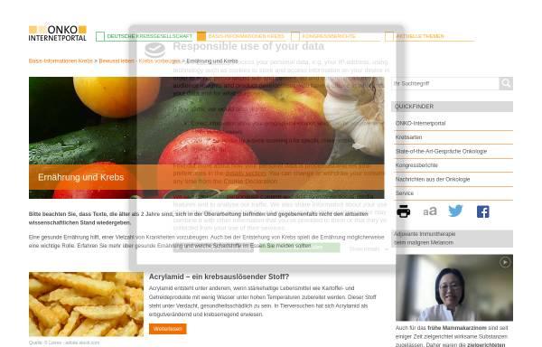 Vorschau von www.krebsgesellschaft.de, Krebs und Ernährung