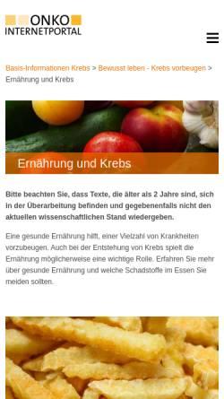 Vorschau der mobilen Webseite www.krebsgesellschaft.de, Krebs und Ernährung