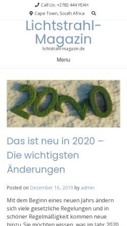 Vorschau der mobilen Webseite lichtstrahl-magazin.de, Lichtstrahl