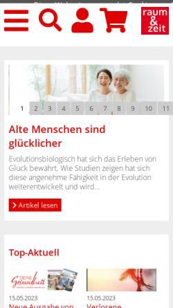 Vorschau der mobilen Webseite www.raum-und-zeit.com, Raum und Zeit