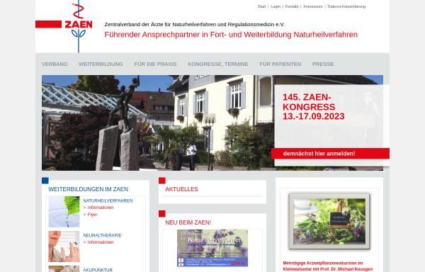 Vorschau von www.zaen.org, Zentralverband der Ärzte für Naturheilverfahren