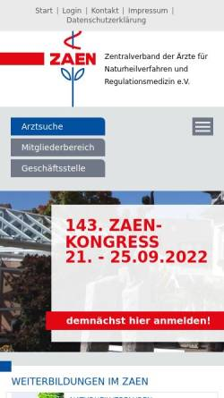 Vorschau der mobilen Webseite www.zaen.org, Zentralverband der Ärzte für Naturheilverfahren