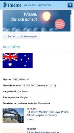 Vorschau der mobilen Webseite www.thieme.de, Via Medici International - Famulatur in Fremantle, Australien