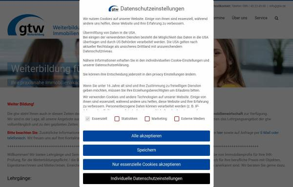 Vorschau von gtw.de, gtw Weiterbildung GmbH