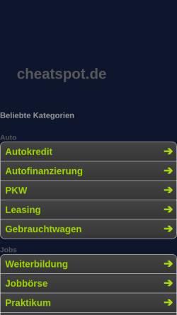 Vorschau der mobilen Webseite www.cheatspot.de, Cheatspot.de - Suchmaschine für Spielecheats