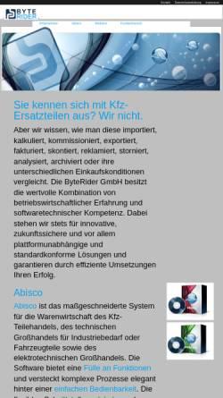 Vorschau der mobilen Webseite www.byterider.de, ByteRider GmbH