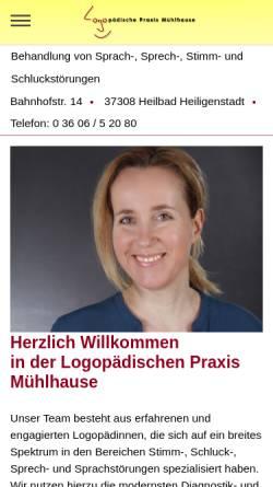 Vorschau der mobilen Webseite www.logo-hig.de, Logopädische Praxis Nicole Mühlhause