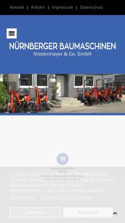 Vorschau der mobilen Webseite www.nuernberger-baumaschinen.de, Nürnberger Baumaschinen Niedermayer & Co. GmbH