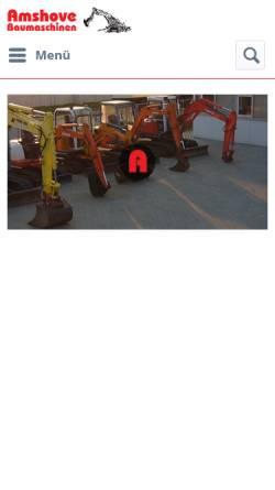 Vorschau der mobilen Webseite www.amshove-baumaschinen.com, Rudolf Amshove, Baumaschinen