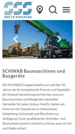 Vorschau der mobilen Webseite www.schwab-baumaschinen.de, Schwab Baumaschinen Baugeräte
