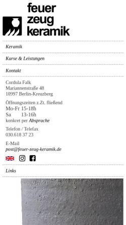 Vorschau der mobilen Webseite www.feuer-zeug-keramik.de, Feuer-Zeug-Keramik