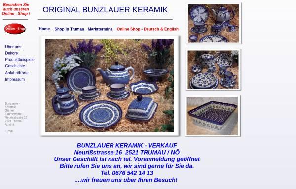 Vorschau von www.bunzlauer-keramik.at, Keramik Günter Zimmermann