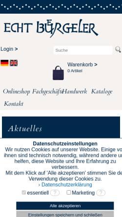 Vorschau der mobilen Webseite www.echt-buergel.de, Töpferei Echtbürgel