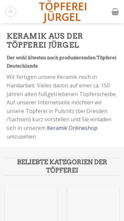 Vorschau der mobilen Webseite toepferei-juergel.de, Töpferei Jürgel